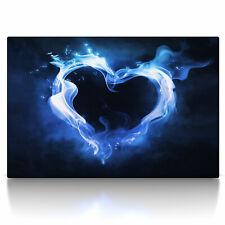 Feuer Herz blau, Poster oder Leinwand Bild auf Keilrahmen, love fire heart