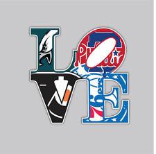 LOVE Philly Philadelphia  Sport Teams Fan Logo Mash Up Vinyl Sticker Decal