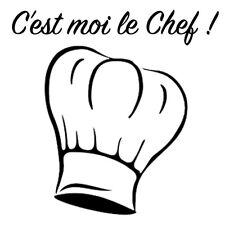 """Sticker Cuisine Toque du Chef + Texte """"C'est moi le Chef !"""" (CUIS046)"""