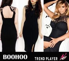 BOOHOO New Black Crochet Lace Overlay High Neck Bodycon Pencil Party Dress 10