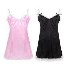 Sissy Mens Women Smooth Satin Slip Dress Costume Underwear Sleepwear Fancy Dress