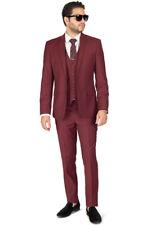 Burgundy Slim Fit Men Suit 2 Button Notch Lapel Azar Man Vest Optional 4030