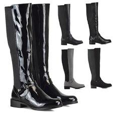 New Womens Flat Low Heel Knee High Ladies Zip Buckle Stretch Leg Calf Boots Size