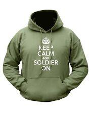Keep Calm & Soldier On Funny Hoody Military Army Hoodie Green Fleece Jumper