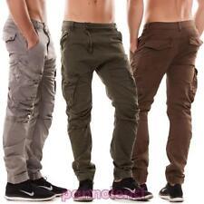 pantalons homme cargo entrejambe bas poches latéraux casual coton neuf H6514