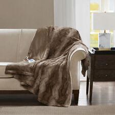 "Heated Beautiful Tan Chocolate Chinchilla Faux Fur Oversize Throw Blanket 50x70"""