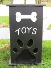 Handmade PET TOY BOX Wood Dog Cat Storage w Bone Paw Print Custom Finish CUTE