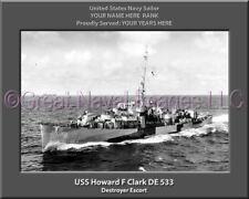 USS Howard F Clark DE 533 Personalized Canvas Ship Photo Print Navy Veteran Gift