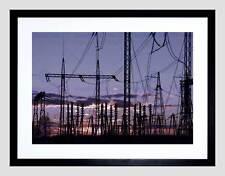 PHOTO SUNSET ELECTRIC PYLONS SEASCAPE FRAMED ART PRINT POSTER  F12X10419