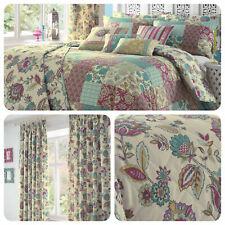 Dreams & Drapes Teal Jacobean Oriental Floral Patchwork Duvet Set & Accessories