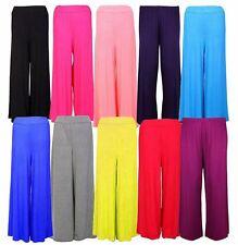 New Womens Wide Leg Palazzo Trousers Flared Bottom Pants 8-16