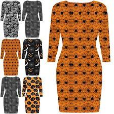 Womens Halloween Cobweb Spider Spooky Scary Moon Bats Print Bodycon Mini Dress