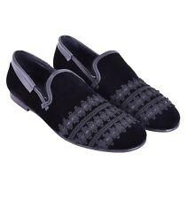 DOLCE & GABBANA RUNWAY Samt Slipper Schuhe AMALFI mit Stickerei Schwarz 05172