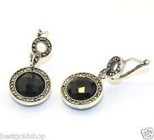 Faceted Round Onyx Gemstone Drop Earrings Sterling Silver 925 9.2gr
