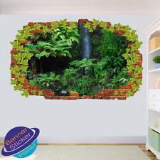 WATERFALL DEEP GREEN FOREST WALL STICKER POSTER ART ROOM OFFICE DECOR MURAL XM0