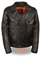 Mens Milwaukee Leather Utility Pocket Motorcycle Jacket w/ Dual Side Gun Pockets