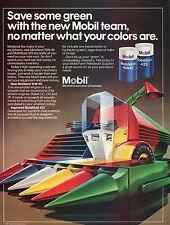 1982 Mobil Oil Mobilfluid 423 Mobiland 15W40 Futuristic Combine Farm Tractor Ad