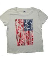 Americana Women's White T-Shirt Plus Sizes USA Vintage Flag Peace