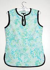 NWT Samuel Dong Women's Pale Blue Asian Sleeveless Bubble Print Blouse sz S