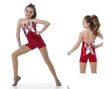 Christmas Metallic Acro Jazz Dance Biketard Costume Child XS, CS, CXL,Adult S,AL