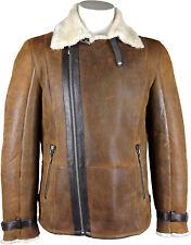UNICORN Uomo montone Pelle - Marrone/Crema pelliccia - vero pelle cappotto #GU