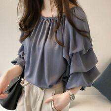 Lady Chiffon T-shirt Blouse Bubble Long Sleeve Off Shoulder Baggy Top M-4XL Sexy