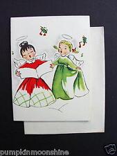 #F617- Vintage Unused Art Guild Xmas Greeting Card Pair of Angels Singing