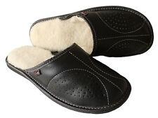 Hommes de peau de mouton laine noir cuir chaussons chaussures taille 7 8 9 10 11 12 13 de luxe