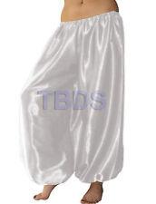 White Satin Women Student Harem Yoga Genie Trouser Belly Dance Pant Aladdin Club