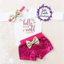 Hello World Baby Shorts Outfit, Newborn Baby Bodysuit, Baby Shower Gift, Newborn