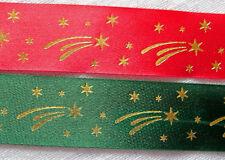 2 Mètres de RUBAN POLYESTER SATINÉ 25mm NOËL étoile filante - coloris au choix