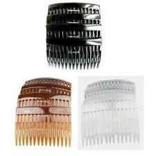 Pack de 4 x 7cm Uni cheveux peignes côté peignes glissières NOIR CLAIR OU