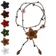 1 Collar de piel con Flores Hojas Onyx Piedra Flores Hippie Mujer Cuero natural