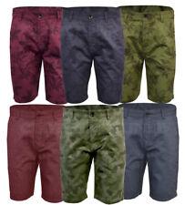 Mens Threadbare Cotton Chino Shorts Fashion Camouflage Plain Summer 30-38