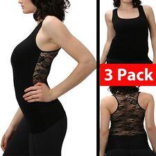 Women Racerback Tank Top Lace Sleveless Shirt Yoga Dance Mesh Shirt (3 Pack)