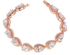 Damen Armband Zirkonia Armkette 18 Karat vergoldet Rosegold Weißgold