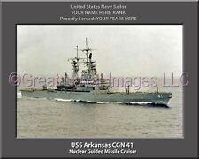 USS Arkansas CGN 41 Personalized Canvas Ship Photo Print Navy Veteran Gift
