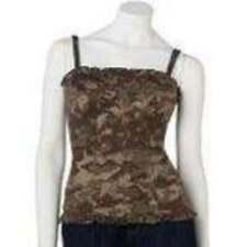 NWT $24-Jr. Girls Mudd Green Camouflage Cami Corset Tank Top Shirt-sz S, M & L