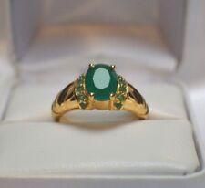 Glamoroso 3.64ct. Africano Esmeralda Natural Oro sobre .925 Anillo Plata de Ley