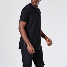 Men Longline Curve Hem T Shirt Extended Short sleeve Hipster Crew Neck Tops Tee