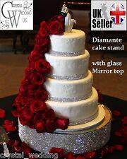 "Crystal diamante cake stand   extra deep 4""   Glass mirror top Wedding Birthday"