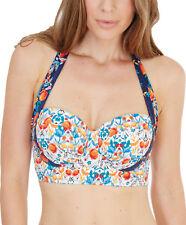 Lepel LE175361 Paradise Long Line Halterneck Bikini Top in Cream Navy