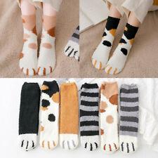 Women Girl Winter Warm Cat Claw Stripe Soft Coral Fleece Floor Sleep Ankle Socks