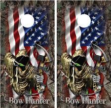 Bow Hunter Grim Reaper American Flag Camo Cornhole Board Wraps Decals Skins