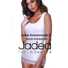 Canotta top donna Jadea spalla larga in cotone modal con balza di pizzo art 4328
