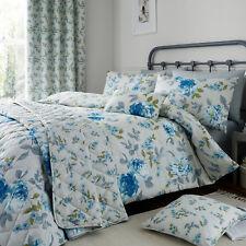 Blue Cotton Rich 200 TC Floral Reversible Duvet Cover Bedding Machine Washable