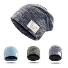 FR_ EG _ Hip Hop Casquette hiver solide Bonnet Rock Patch DOUBLURE POLAIRE