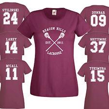 Beacon Hills Lacrosse T-shirt WOMANS Borgogna Stilinski WOLF 24 Teen Unisex