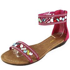New women's sandal open toe back zipper gladiator summer casual fuchsia stones
