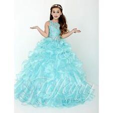 Blue Flower Girl Dress Princess Kids Pageant Party Dance Wedding Birthday Gown